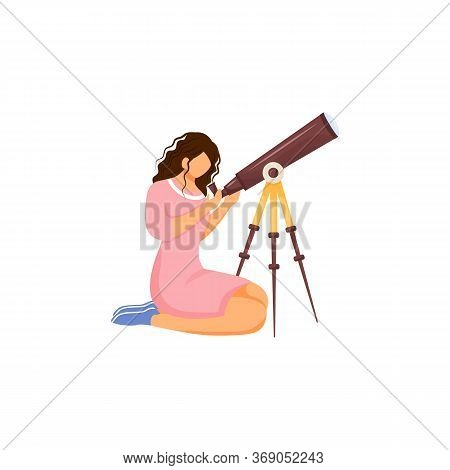 Astronomer With Telescope Flat Color Vector Faceless Character. Person Searching For Constellation.