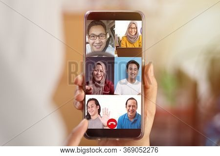 Video Teleconference Concept. Telemeeting On Phone, Distant Conference Trought Internet During Work