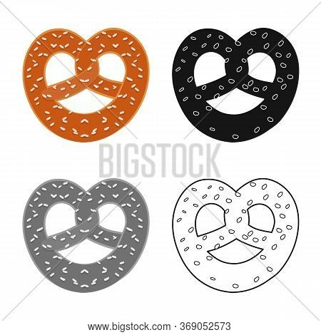 Isolated Object Of Pretzel And German Logo. Collection Of Pretzel And Food Vector Icon For Stock.