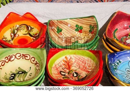 Pretty Ceramic Dishes Displayed Outside A Shop, Mijas, Costa Del Sol, Malaga Province, Andalucia, Sp