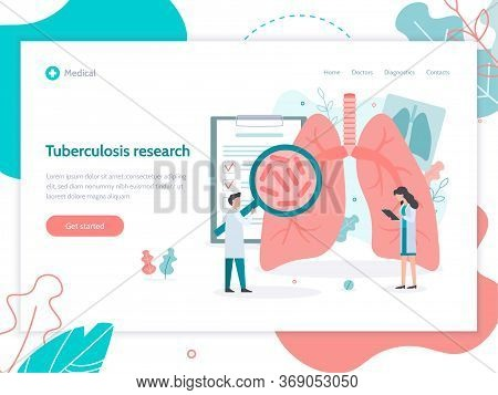 Diagnostics Of Diseases Of The Pulmonary System. Lungs Health. Web Banner Design Template. Medical F