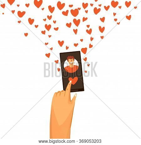 Vector Flat Illustration Of Human Hand Giving Love And Swiping Right On Dating App. Romantic And Lov
