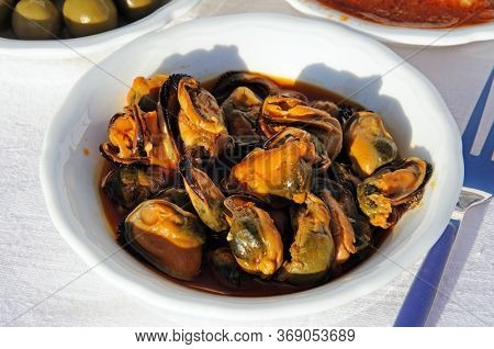 Mussels In Chilli And Tomato Vinaigrette Tapas (mejillones En Escabeche), Costa Del Sol, Spain.
