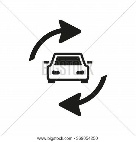 Simple Icon Of Car With Cycling Arrows. Auto Update, Used Car, Repair Service. Auto Concept. Can Be