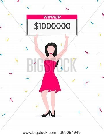 Happy Lottery Winner With Big Prize Paycheck. Fortune Lottery Or Casino Gambling Lucky Games Concept