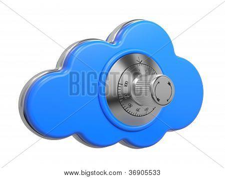 Cloud with Safe Lock. Secure concept. 3D