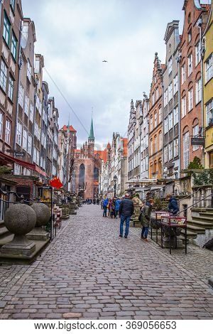 Gdansk, Poland - 12 April 2019; Mariacka Street With St. Mary\\\'s Cathedral In The Background