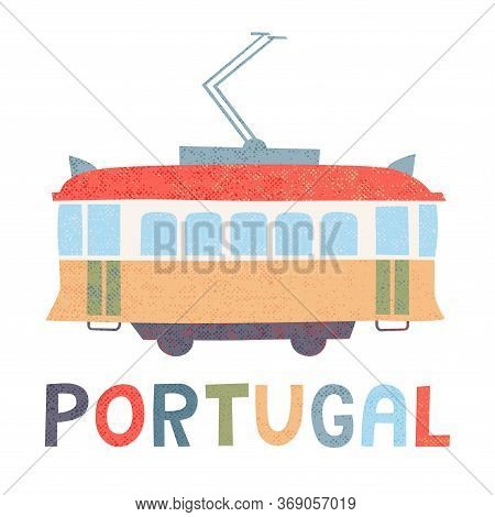 Portugal Tram. Vector Illustration. Isolated On White.
