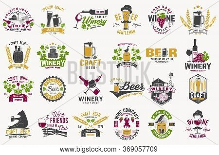 Set Of Craft Beer And Wine Company Badges With Hops, Raven And Bear. Vector Illustration. Vintage De