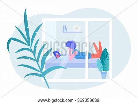 The Concept Of Stay At Home. Vector Illustration. The Girl Lies On The Sofa And Looks At The Laptop