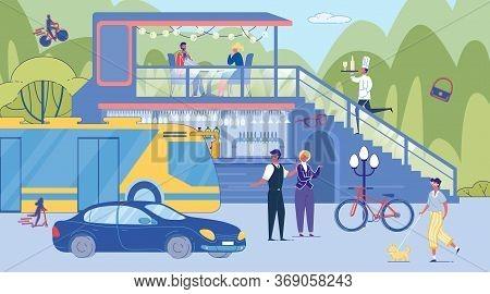 People Character Talking Cross Road. Guy Walking Dog On Leash. Urban Transport Traffic. Visitor Eat