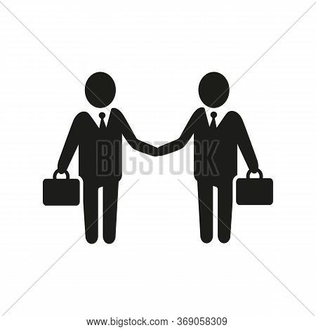 Simple Icon Of Businesspeople Meeting. Cooperation, Teamwork, Colleagues. Business Training Concept.