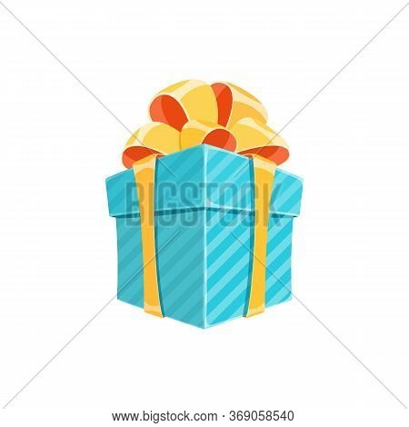 Surprise Gift Box Or Birthday Present Cartoon Vector Illustration. Colorful Square Giftbox With Blue