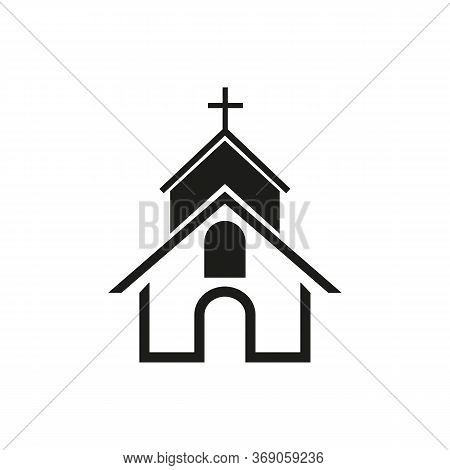 Simple Icon Of Christian Church. Christianity, Catholicism, Orthodoxy. Faith Concept. Can Be Used Fo