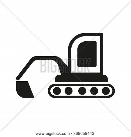Icon Of Excavator With Loader. Digger, Backhoe Loader, Heavy Equipment. Transportation Concept. Can