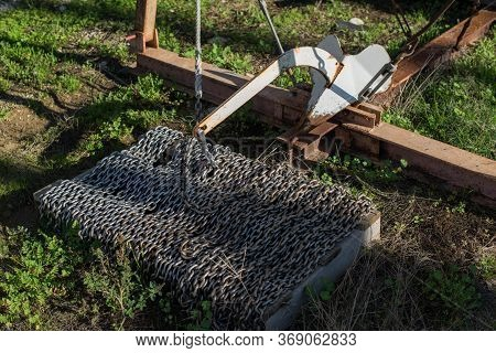 Stainless Sailing Boat Anchor Chain On The Pallet