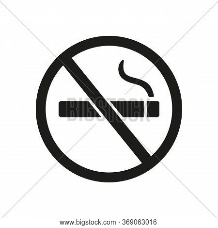 Icon Of No Smoking Sign. Warning, Danger, Nicotine. Healthcare Concept. .can Be Used For Topics Like