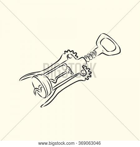Image Of Classic Corkscrew. Doodle Style. Corkscrew, Vector Sketch Illustration