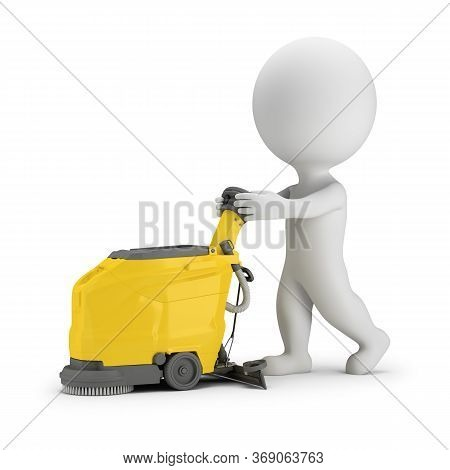 3d Small Person Drives A Scrubber Machine. 3d Image. White Background.