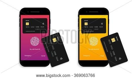 Payment For Credit Card From Phone. Mobile Nfc Icon. Contactless Pay From Cellphone. Receive And Pro