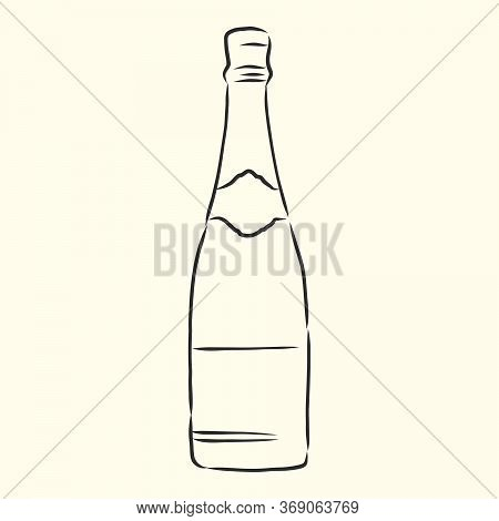 Cartoon, Hand Drawn, Vector, Sketch, Illustration Of Bottle Of Champagne And Glasses Of Champagne. A