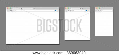 Browser Window. Web Template For Computer, Tablet And Mobile. Internet Page With Interface, Toolbar,