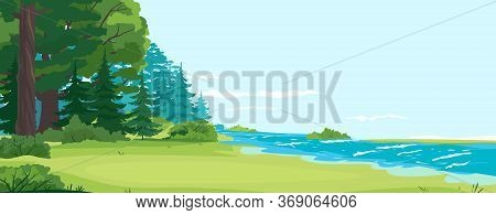 Glade By The River And Forest Nature Landscape, Scenic Place For Outdoor Recreation, Place For Campi