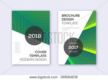 Modern Cover Design Template Set. Green Abstract Lines On Dark Background. Extra Cover Design. Power