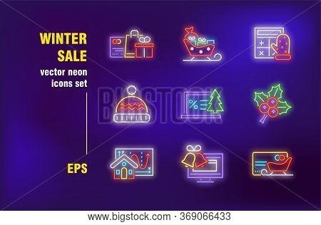 Winter Sale Neon Signs Set. Christmas Symbols, Sleigh, Mistletoe, Jingle, Cloth, Shopping Bag. Night