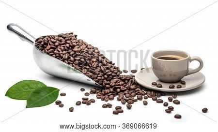Hot Coffee Cup With Spoon Coffee Scoop And Coffee Beans On A White Background, Copy Space For Your T
