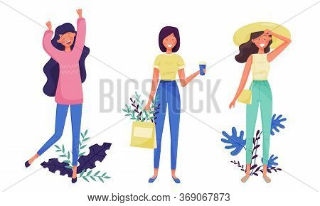Slim Young Woman In Standing Pose Smiling With Floral Twigs And Branches Behind Vector Illustration