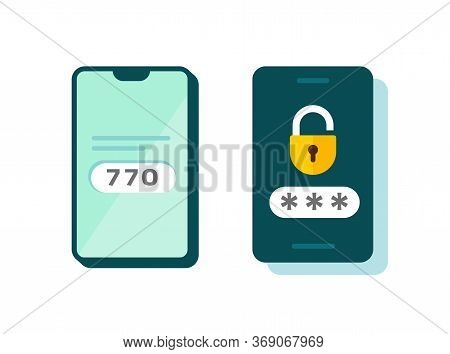 2fa Icon Vector Password Secure Login Authentication Verification Flat Cartoon Or Sms Push Code Mess