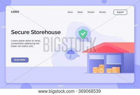 Secure Storehouse Campaign Concept For Website Template Landing Or Home Page Website.modern Flat Car