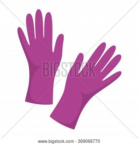 Cleaning Gloves Isolated On White, Vector Illustration, Dish Wash Gloves, Violet Glove For Cleaning