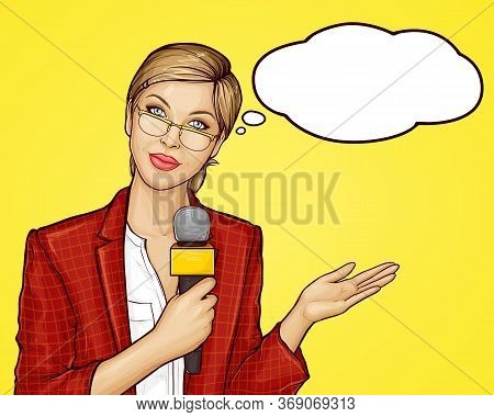 Pop Art Beautiful Female Tv Reporter Broadcasts Live. Young Woman Journalist, Presenter In Jacket An