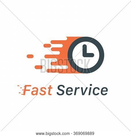 Fast Service Motion Clock Logo, Fast Delivery, Express Service Concept. Stock Vector Illustration Is