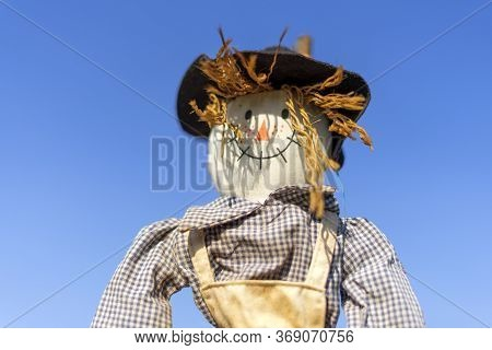 Smiling Bogeyman In A Garden Or Field Against A Blue Sky. Bright Sunny Summer Day. Shallow Depth Of