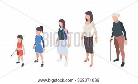 Generations People. Kids Girls Daughter Woman Mother Grandmother Vector Isometric Characters. Proces