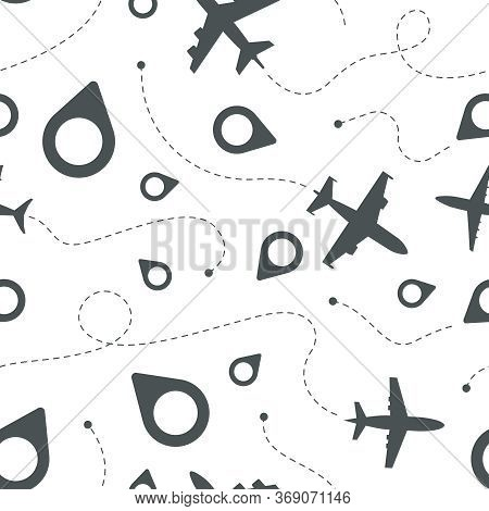 Airplane Dotted Route. Travel Template Civil Aviation Symbols Airplane Path Flight Vector Seamless P
