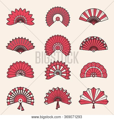 Hand Fan. Japanese Authentic Symbols Chinese Draw Vector Beauty Shapes. Fan Traditional Accessory, A