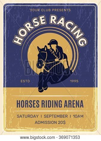 Equestrian Poster. Horse Domestic Ride Animals With Jockey In Helmet Training Club Placard Vector Vi