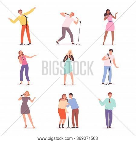 Karaoke Singers. People Have Fun In Music Club Solo Concert Persons Vector Male And Female Character