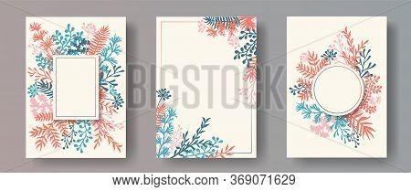 Botanical Herb Twigs, Tree Branches, Flowers Floral Invitation Cards Set. Bouquet Wreath Retro Invit