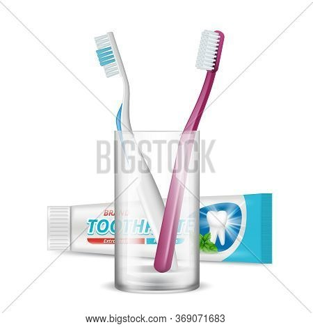 Toothbrush In Glass. Dental Daily Protection Morning Hygiene Plastic Tube Package For Toothpaste Vec