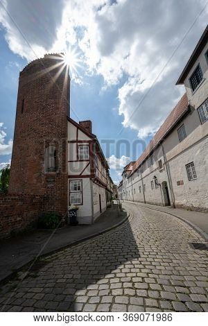 Half Tower From The 13th Century In The Former City Wall With Later Added Half-timbered House In The