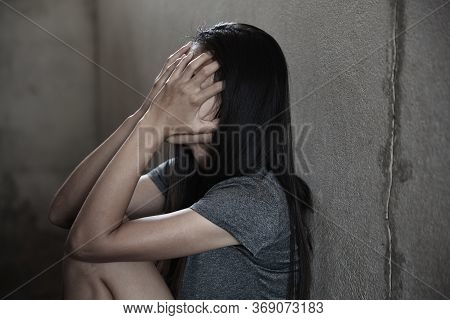 Young Depressed Woman, Domestic Violence And Rape. Stop Abusing Violence,  Human Trafficking, Stop V