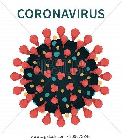 Flat Vector Illustration Of Covid-19 External Structure Showing Red Spikes And Envelope Of Virus Cap