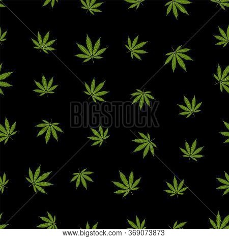 Cannabis Seamless Pattern. Marijuana Leaf, Green Weed Plant. Hashish Texture, Isolated Black Backgro