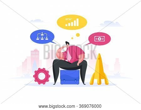 Modern Inventor Thinking About Rocketry Project. Flat Vector Illustration