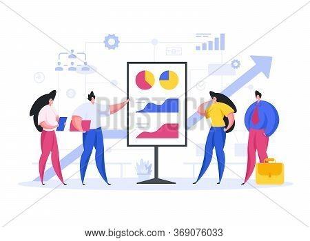 Entrepreneurs Showing Graphs To Investors. Flat Vector Illustration